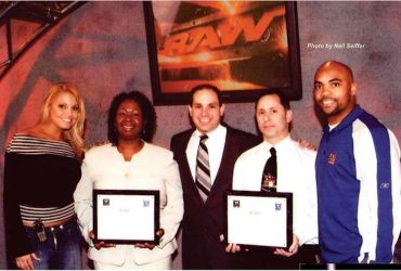 "Pat with WWE Superstar ""Trish Status""  And NYC School Executives at WWE RAW/ D.A.D. Event."